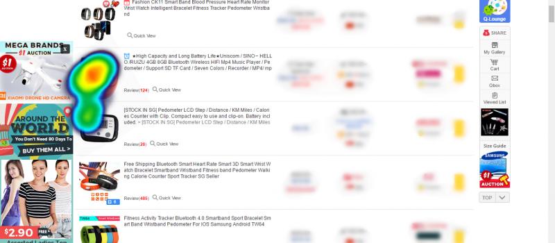 Product listings on qoo10 with eye-tracking heatmap